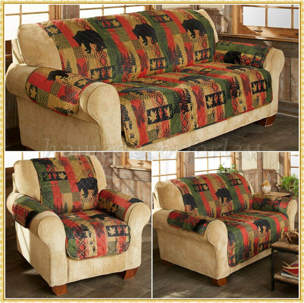Quilted Lodge Furniture Cover Rustic Cabin Nature Slipcover Sofa Loveseat Chair $32.98