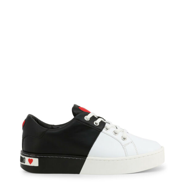 Love Moschino Shoes Women#x27;s White Black Leather Heart Low Top Sneakers EU35 US5 $154.00