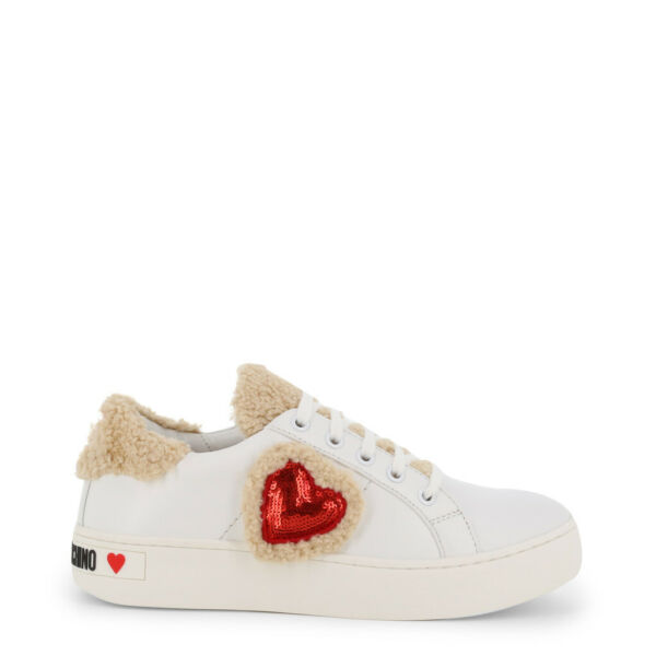 Love Moschino Shoes Women#x27;s White Red Heart Leather Low Top Sneakers EU39 US9 $126.00