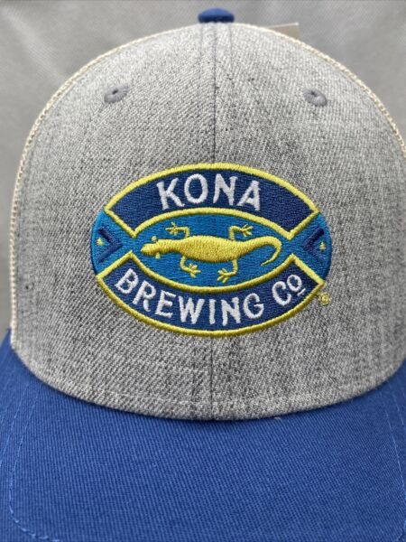 Kona Brewing Co Blue Gray Embroidered Twill Cap Hat Mesh Snapback Structured NEW