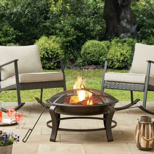 48quot; Round Wood Burning Outdoor Patio Fire Pit Set With Mesh Spark Guard Poker