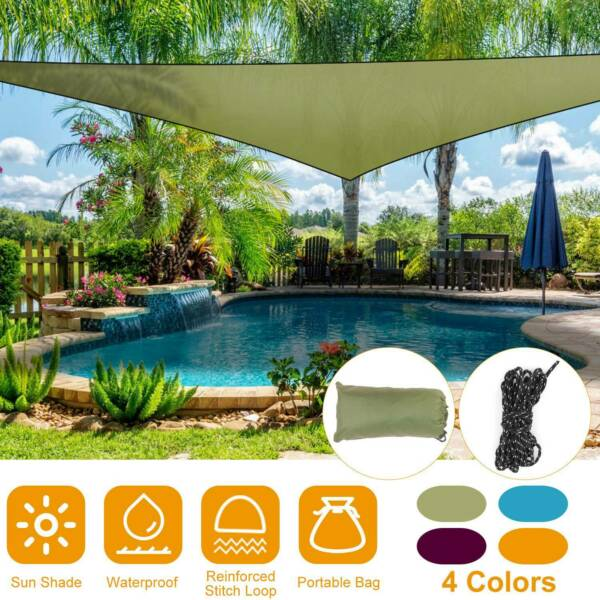 Sun Shade Sail Triangle Sunscreen Awning Canopy Outdoor Garden Patio Waterproof $18.78