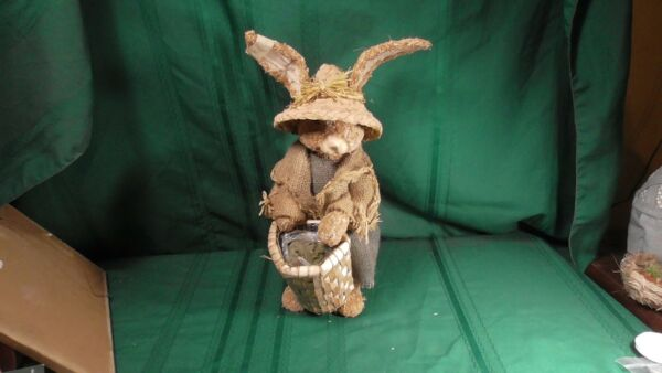 Sisal Bunny with basket Dressed in burlap dress and jacket