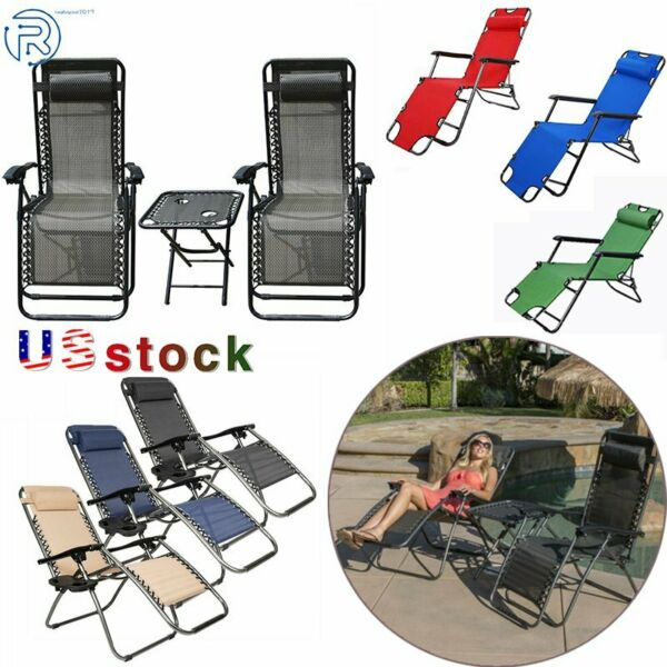 Folding Zero Gravity Reclining Lounge Chairs Outdoor Beach Patio Yard Garde
