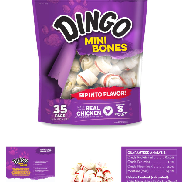 Dingo Mini Bones Rawhide for Dogs Dog Chews Made with Real Chicken 35 Count $13.64