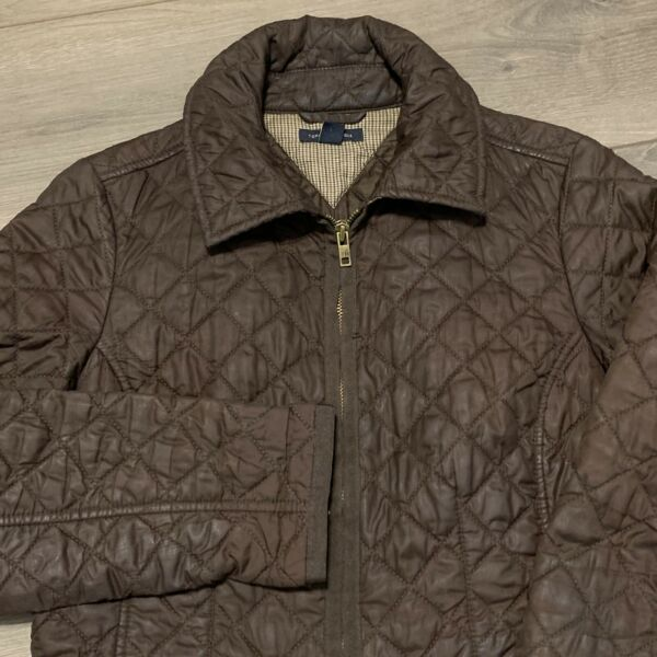 Tommy Hilfiger Jacket Womens Small Brown Zip Up Collared Winter Coat Quilted $30.00