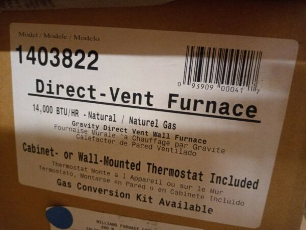 Williams Direct Vent 14000 BTUH 65% AFUE Natural Gas OPEN BOX NEW $499.99