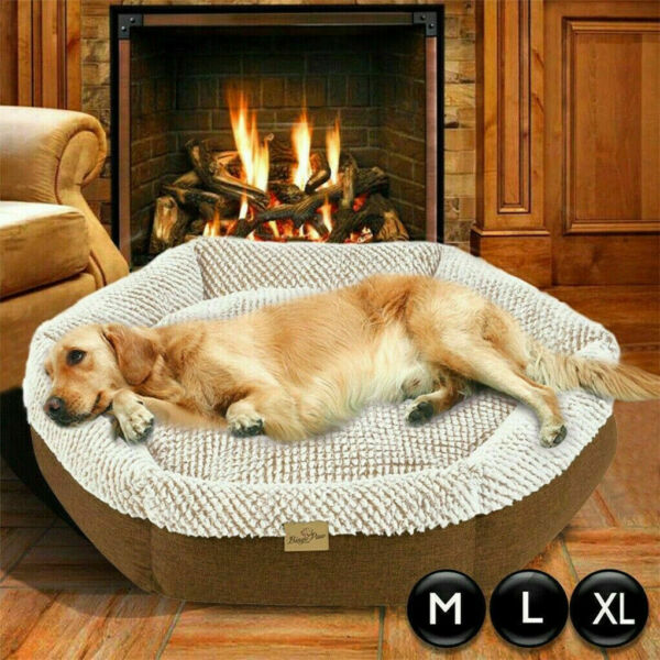 Waterproof Dog Basket Bed Cave Surround Supportive Edge Plush Sofa Cat Pet Beds $32.91