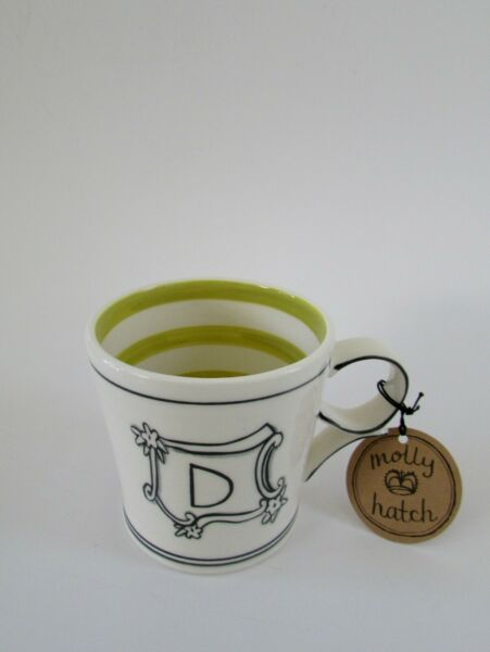Anthropologie Molly Hatch Coffee Mug Monogram Initial quot;Dquot; NWT $39.00