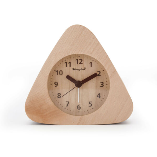 Solid Wood Non Ticking Analog Quartz Alarm Clock with Nightlight Snooze Alarm $11.99