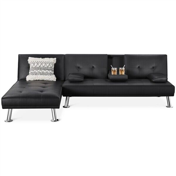 Sectional Sofa Couch Bed Convertible Sofa Sleeper Bed Faux Leather Futon Sofa $398.99