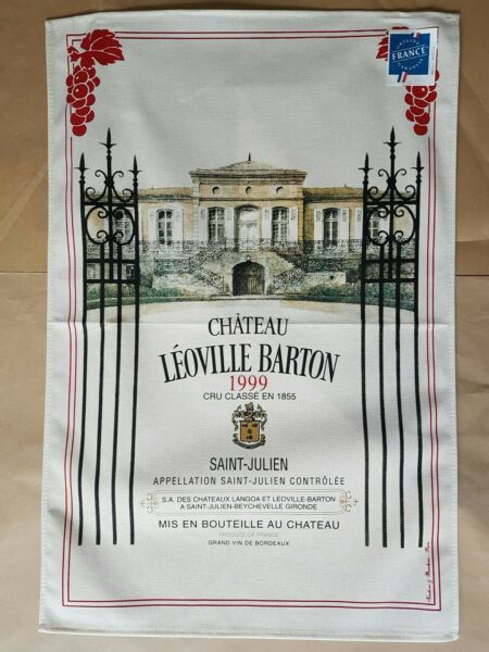 French Screen Print Tea Towel Torchons amp; Bouchons CHATEAU LEOVILLE BARTON