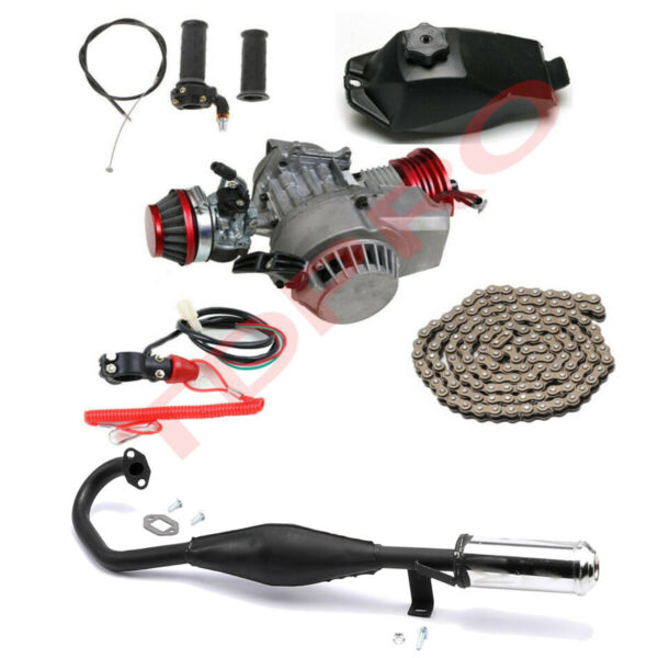 Racing Big Bore 2 Stroke 47 49cc Engine Motor Exhaust Kit Quad ATV Scooter Bike $209.99