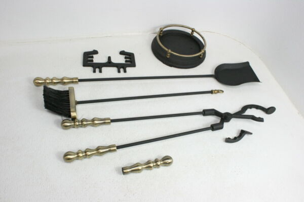 SEE NOTES Minuteman Chatham 5pc Fireplace Tool Set Black w Brass Handles
