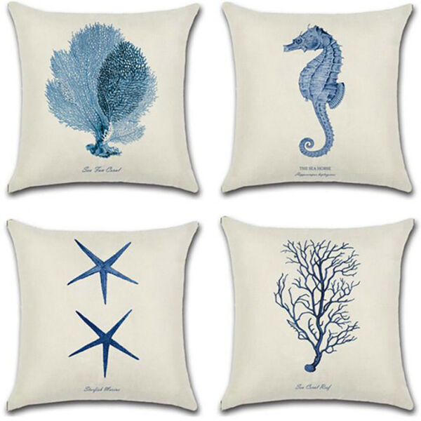 Sea Animal Throw Sofa Pillow Covers Cotton Linen Couch Cushion Case Home Decor $8.19