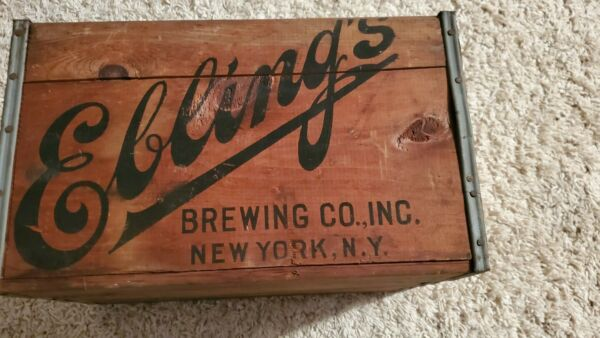 Vintage Wooden Beer Crate Ebling Brewing New York City Wood Brewery Box