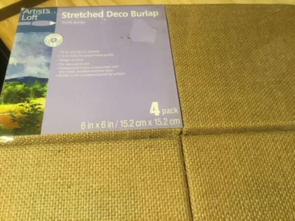 """Artists Loft Stretched Deco Burlap 6"""" x 6"""" 4 pack For all your crafting projects"""