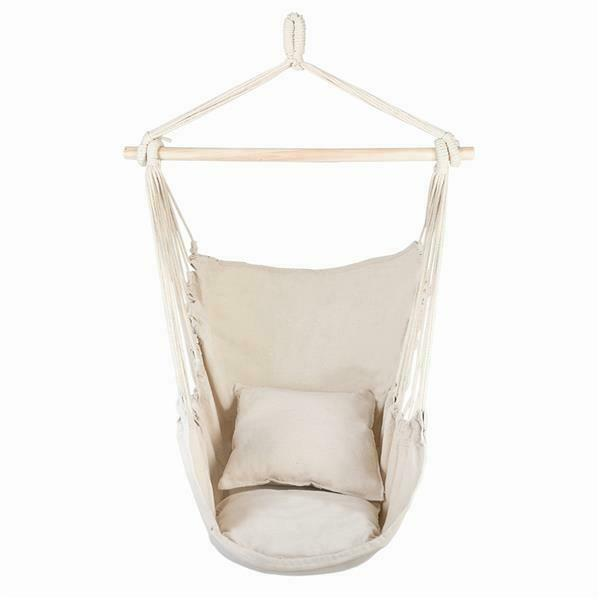 Hanging Rope Chair Indoor Outdoor Patio Pillow Cushions Hammock Swing Egg Chair $43.99