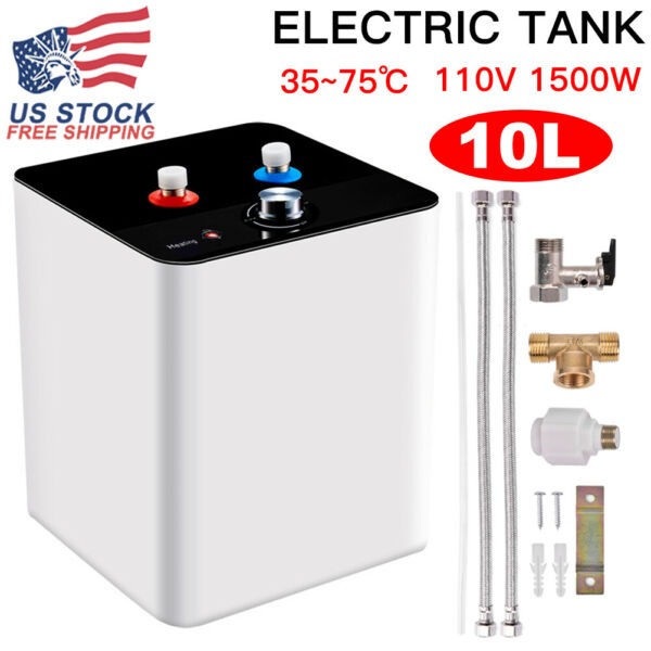 110V 10L 95°F 167°F Electric Tankless Hot Water Heater Kitchen Bathroom Use $81.99