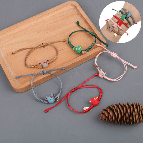 Cattle Bracelets Handmade Bangles Resin Red Rope Accessories 2021 New Year Gifts $2.34