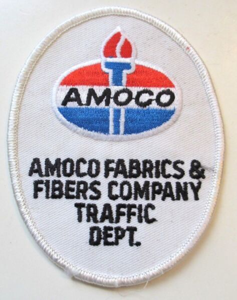 Vintage Amoco Fabric amp; Fibers Company Traffic Department Patch Gas Oil