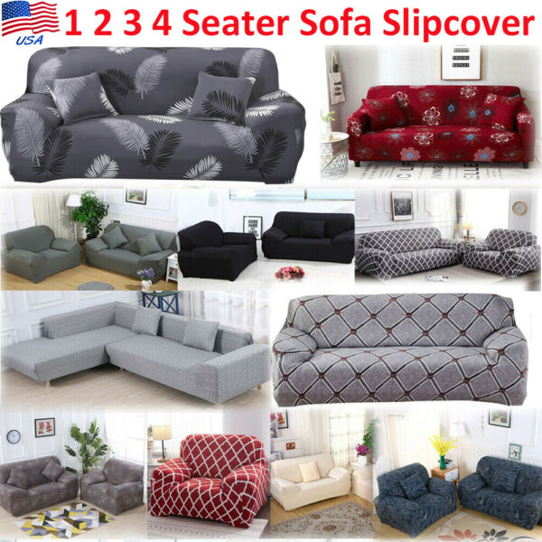 Universal 1 2 3 4 Seater Stretch Chair Sofa Covers Protector Couch Slipcover USA $32.99
