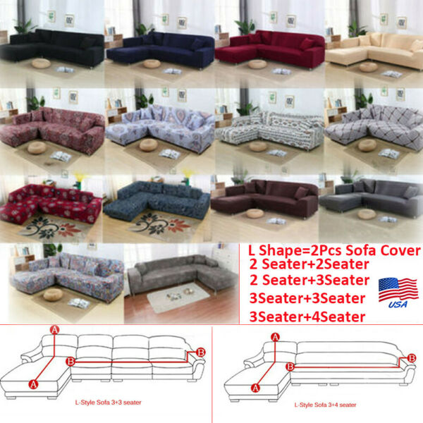 2Pcs Stretch Sofa Covers Corner Couch Protector Slipcover for L Shape Sectional $45.99