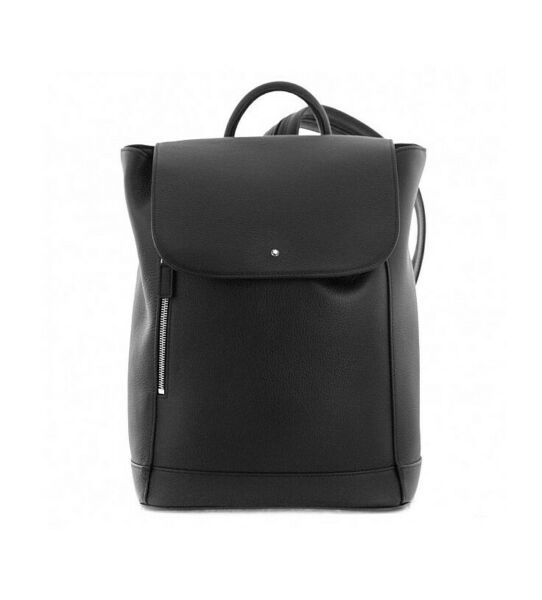 MONTBLANC BLACK SOFT GRAIN BACKPACK BAG MEDIUM 118737 MADE IN ITALY NEW NO BOX