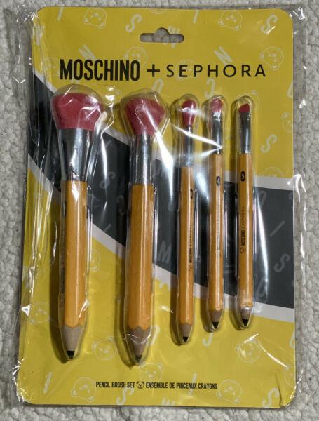 NEW Authentic MOSCHINO Sephora Pencil Brush Set 5 Pieces LIMITED EDITION $79.00