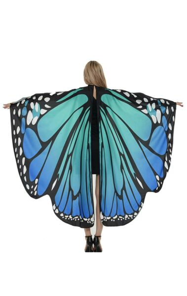 Adult Halloween Costumes for Women Butterfly Wings Girl Blue Butterfly $11.99