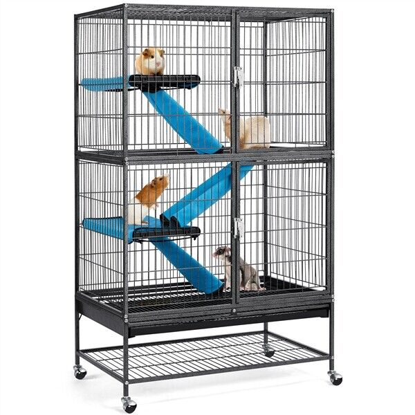 2 Story Rolling Metal Ferret Cage Chinchilla Guinea Pig Rat Critter Nation Black