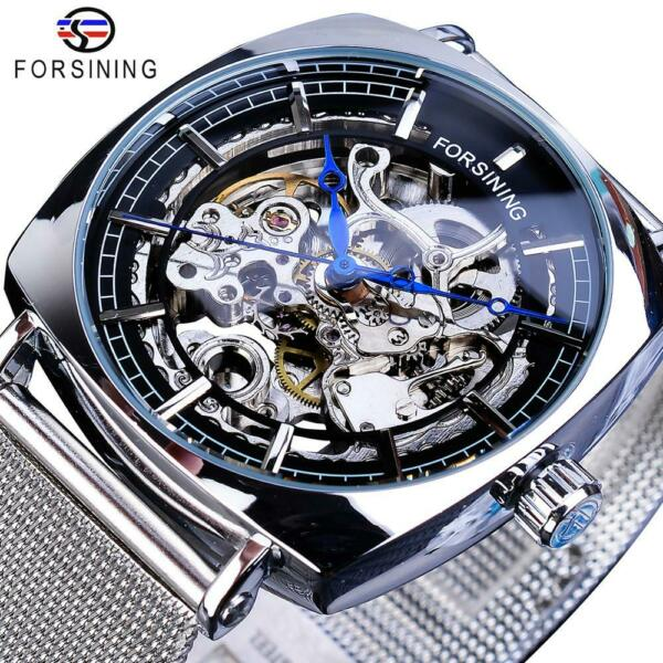Forsining Hollow Skeleton Automatic Winding Watch Men#x27;s Casual Mechanical Watch $29.69
