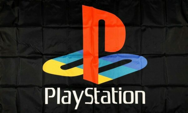 PlayStation Flag 3x5 ft Black Banner Video Game Gaming PS Wall Garage Man Cave $15.97