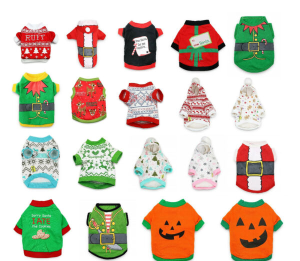 Halloween Pet Costumes Dog Cat Clothing Sweaters Shirts Small Pet Apparel $7.99