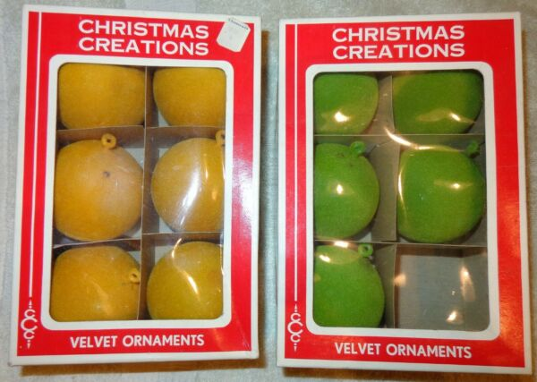 2 VINTAGE BOXES OF 11 HONG KONG quot;VELVETquot; FLOCKED CHRISTMAS TREE BALL ORNAMENTS