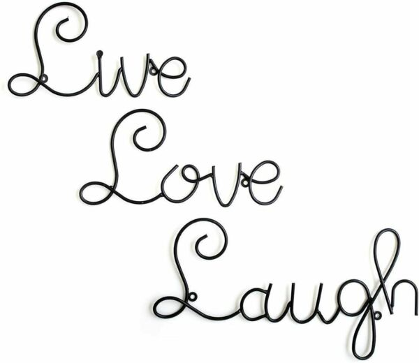 Wall Decor Home Live Love Laugh Set 3 Mount Metal Word Sculpture By Super Z Outl $18.20
