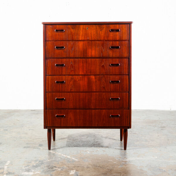 Mid Century Danish Modern Highboy Dresser 6 Drawer Teak Lock Denmark Vintage