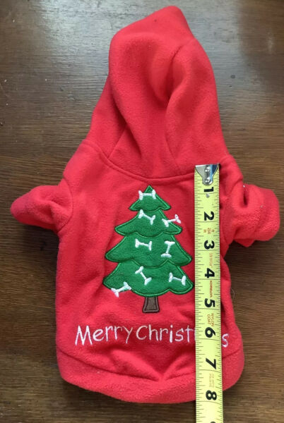 Dog Christmas Tree Fleece Holiday Coat Sz S Pet Costume Clothes Red Green VGUC $2.99