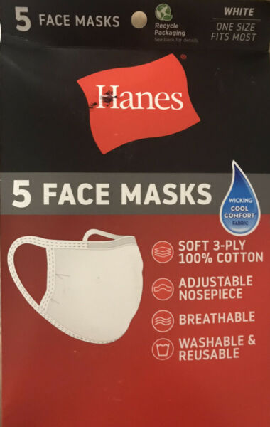 Hanes 5 White Face Masks Cotton Wicking Cool Comfort Washable amp; Reusable $6.49