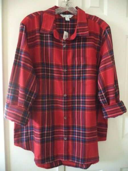 Must Have Old Navy Updated Red Blue Tartan Plaid Cotton Flannel Shirt 1X 2X 3X $29.99