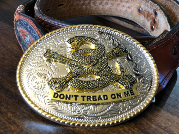 Large Oval Don#x27;t Tread On Me Belt Buckle with 3D Snake FREE SHIPPING $32.00