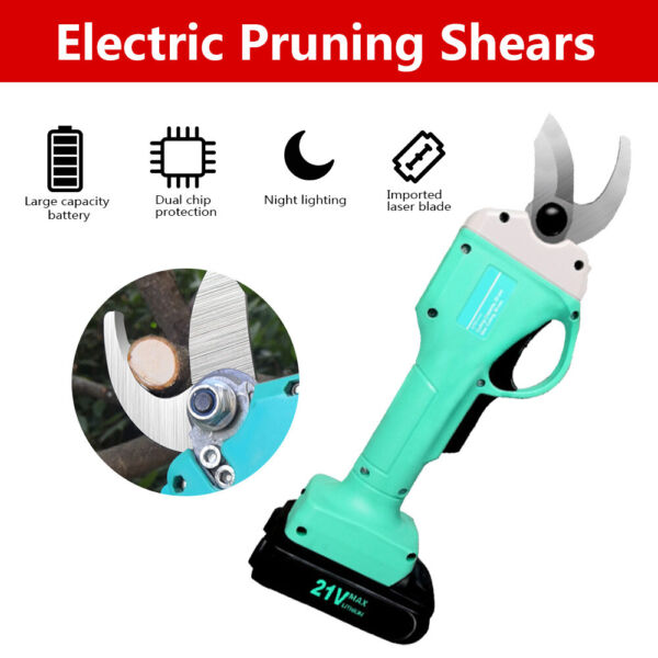 30mm Electric Pruning Shears Cordless Trimmer Pruner Garden Cutting Tree Nursery