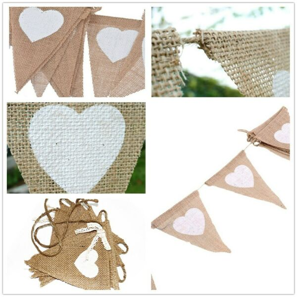 Linen Burlap Bunting Hessian Flag Banner Jute Pennant Vincenza Christmas Xmas
