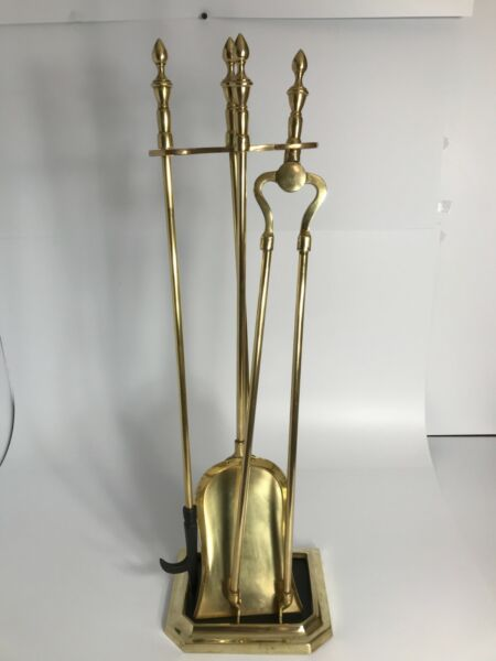 Brass Fireplace Tool Set Stand amp; 3 Tools