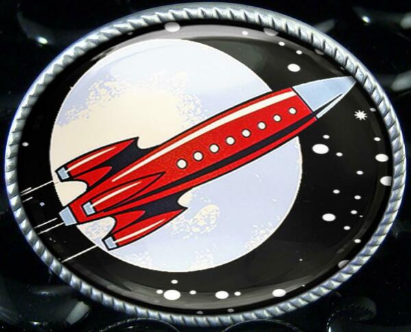 Toy Rocketship Retro Spaceship Unisex Handmade Artisan Belt Buckle $34.99