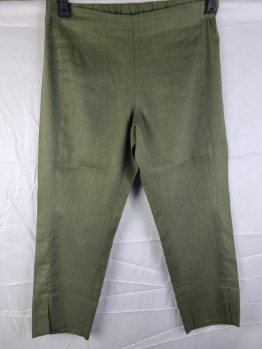 J Jill Linen Stretch Straight Leg Pant in Moss Women's Petite Small $25.99