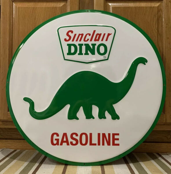 Sinclair Dino Gasoline Metal Sign Garage Vintage Style Wall Decor Tools Oil