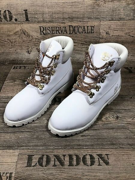 TIMBERLAND WHITE BOOTS with quot;GOLD CHAINquot; LACES Size US10 $440.00