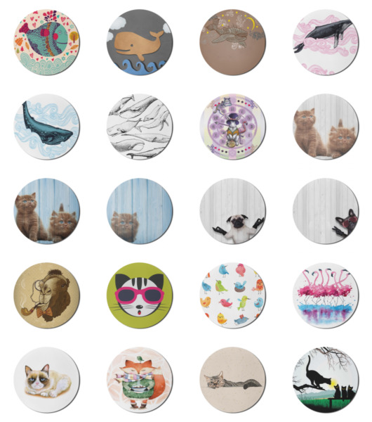 Ambesonne Animal Art Round Non Slip Rubber Modern Gaming Mousepad 8quot; $13.99