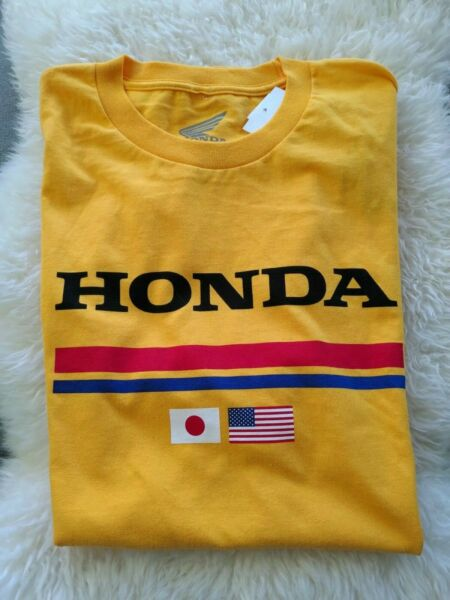 Official Honda Track Racing Gold USA Japan Flag Tee Men#x27;s Size Large NWT